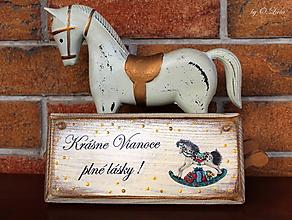 Tabuľky - Vintage ceduľka z masívu - Vianoce - 11277702_