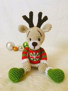 Hračky - Háčkovaný sobík Rudolf - 11274954_
