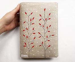 Papiernictvo - Obal na knihu nastaviteľný - Zamrznuté šípky (natur 100%ľan) - 11276308_