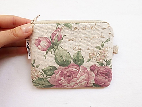 Peňaženky - Peňaženka/dokladovka - Romantické ruže - 11276479_