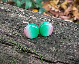 Náušnice - Krúžky 12 mm dúhové (ružovo-zelené) - 11278117_