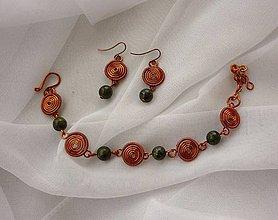Sady šperkov - Náušnice a náramok so serpentínom - 11277383_