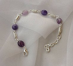 Sady šperkov - Náramok s náušnicami - ametyst - 11277772_