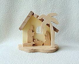 Dekorácie - Drevený vyrezávaný Betlehem - 11275153_
