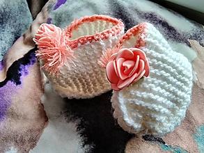 Topánočky - Detské pletené papučky - kvietok - 11275617_