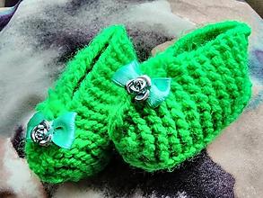 Topánočky - Detské pletené papučky - 11275859_