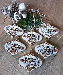 Dekorácie - SADA 6 ks - vianočné ozdoby so sýkorkami - 11278030_