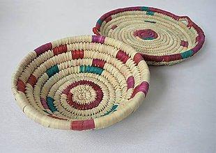 Košíky - Pletený palmový kôšík (Priemer cca. 25 cm - Zelená) - 11276344_