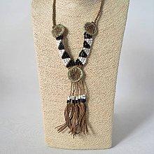 Náhrdelníky - Exotický náhrdelník, kožený náhrdelník, náhrdelník s mušľami - Vianočná zľava - doprava zadarmo - 11277209_