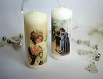 Svietidlá a sviečky - Vintage sviečka - Deti pri stromčeku - 11275331_