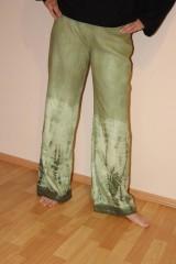 "Nohavice - ľanové nohavice ""oliva"" - 11276756_"