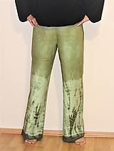 "Nohavice - ľanové nohavice ""oliva"" - 11276760_"