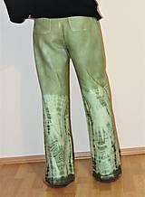 "Nohavice - ľanové nohavice ""oliva"" - 11276761_"