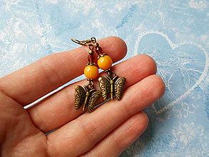 Náušnice - Motýliky s jadeitom - 11277905_
