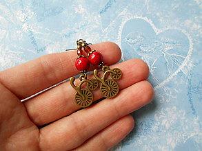 Náušnice - Červené bicyklíky - 11277936_