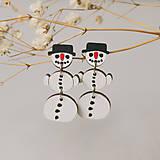 Náušnice - snehuliak pohyblivý ~ napichovisiačky - 11277292_