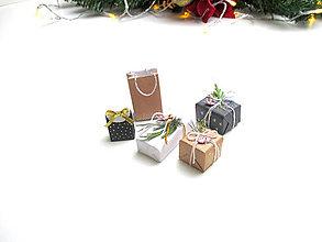 Hračky - Sada mini vianočných darčekov (Prírodná) - 11277613_