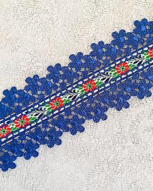 Opasky - Folkový opasok s čipkou - modrý - 11275322_