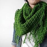 Šatky - šatka zelená so strapcami - 11278101_