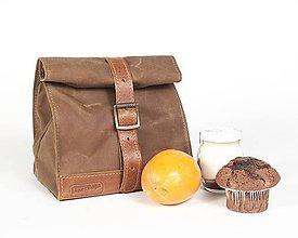 Iné tašky - Lunchbag. Hnedá taška na jedlo  (s ramenným popruhom) - 11276115_