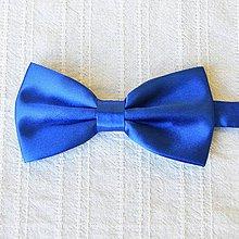 Doplnky - Dospelácky motýlik originálny tradičný, saténový, modrý,unisex, pánsky, dámsky, univerzal - 11278245_
