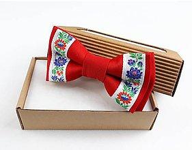 Doplnky - Pánsky folklórny motýlik - červený stuhový - 11278659_