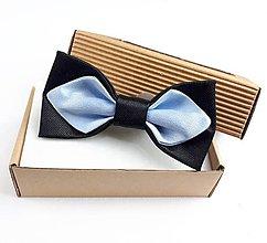 Doplnky - Pánsky motýlik saténový-modro čierny - 11278850_