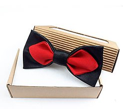 Doplnky - Pánsky motýlik saténový-červeno čierny - 11278853_