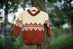 Detské oblečenie - Žlto hnedý pulóver - 11278982_