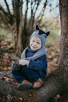 Detské súpravy - Vlčik set čiapka a šál - 11278742_