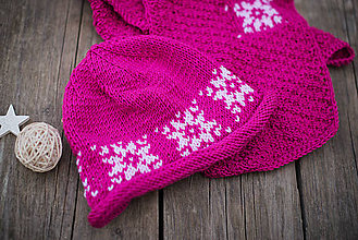 Detské súpravy - Ružový set čiapka a šál - 11278802_