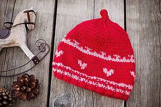 Detské čiapky - Červená štuplikovka - 11278887_