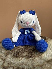 Hračky - zajačica Fazuľka - kráľovská modrá - 11276300_