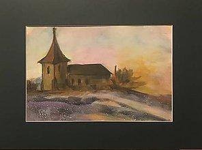 Obrazy - Kostolík v rannom opare , akvarel - 11276272_