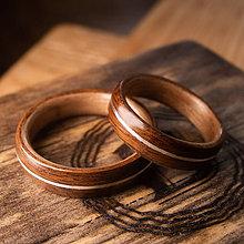 Prstene - Drevená obrúčka- Palisander/orech/striebro - 11277967_