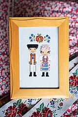 Obrázky - Dvojica v kroji - vyšívaný portrét - 11279022_