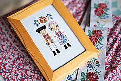 Obrázky - Dvojica v kroji - vyšívaný portrét - 11279023_
