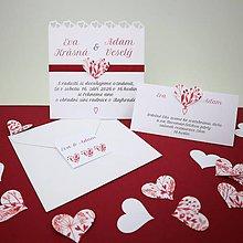 Papiernictvo - Srdce bordové - oznámenie scrapbook - 11276552_
