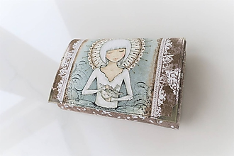 Peňaženky - Děvčátko s holubičkou - i na karty 13 cm - 11275580_