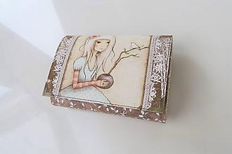 Peňaženky - Děvčátko s holubičkou - i na karty 13 cm - 11275581_