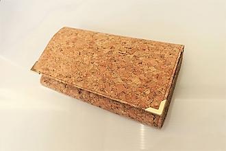 Peňaženky - Přírodní korek - peněženka 17 cm, na spoustu karet - 11275618_