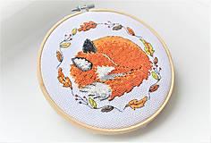 Dekorácie - Ručná výšivka spiace zvieratko LÍŠKA - 11277102_