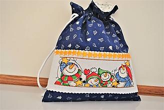 Úžitkový textil - Mikulášske/vianočné vrecúško modré snehuliaci - 11277185_