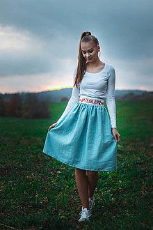Sukne - vyšívaná sukňa-modrá - 11277058_