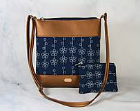 Kabelky - Dara XL set hnedá metalická + modrotlač - 11275031_