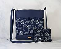 Kabelky - modrotlačová kabelka Dara modrá XL set 1 - 11275042_