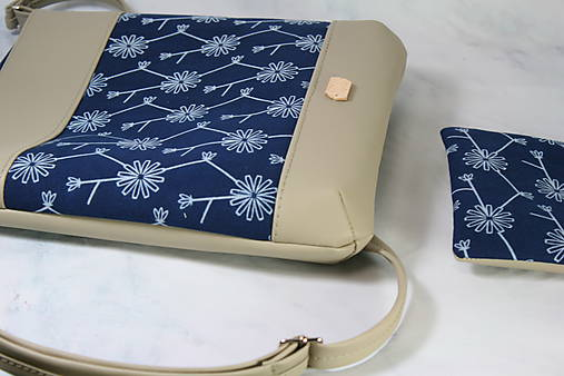 kabelka Dara XL set modrotlačová béžová