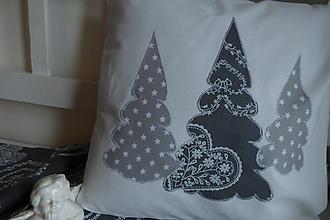 Úžitkový textil - vankúš šedé stromčeky - 11277671_