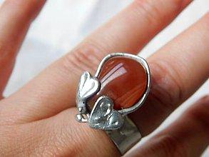 Prstene - Dve srdiečka- farebný achát, tiffany - 11284944_