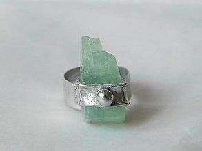 Prstene - Kus ľadu - zelený kalcit, tiffany - 11285094_
